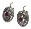 14K Yellow and White Gold, Ruby and Diamond Earrings