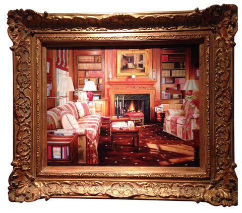 "S. Lee (American, 20th/21st Century), ""An Interior with Fireplace (The Library)"", oil on panel, signed"