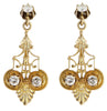 14K Yellow Gold and Diamond Drop Earrings