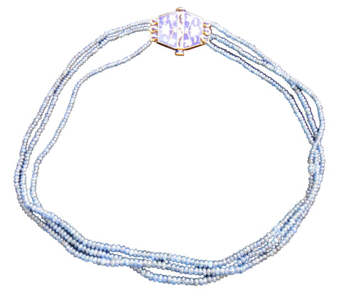 18K Yellow Gold, Diamond and Sapphire Bead Necklace