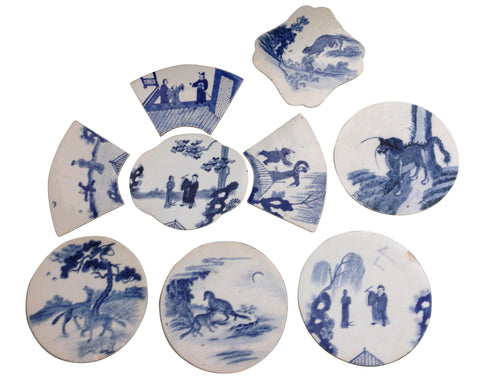 Collection of Nine Chinese Blue and White Porcelain Plaques