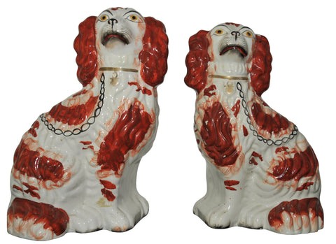 Pair of English Staffordshire Pottery Dogs