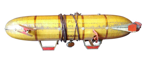 German Tin Toy Windup Dirigible in Original Box