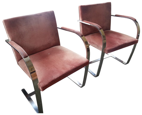 "Pair of Chromed Steel and Upholstered ""Brno"" Armchairs, designed by Mies van der Rohe (German, 1886-1969), produced by Knoll, 1960s"