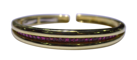 18K Yellow Gold and Ruby Bangle