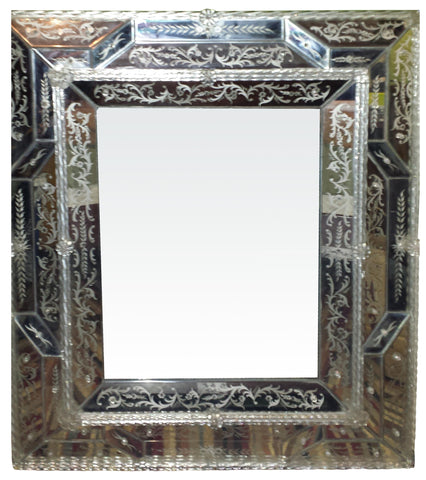 Venetian Style Etched and Molded Glass Rectangular Mirror