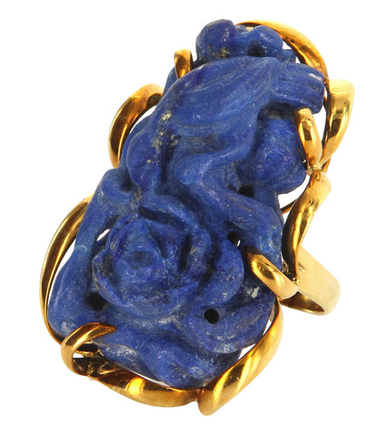14K Yellow Gold and Lapis Lazuli Cocktail Ring