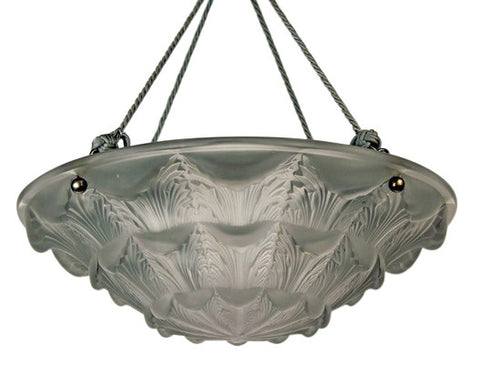 French Art Deco Molded and Frosted Glass Plafonnier