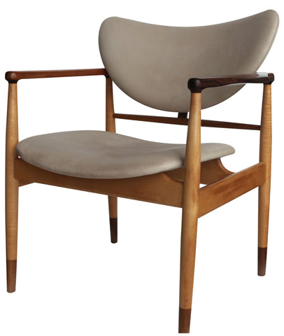 Mid-Century Danish Teak and Beige Leather Armchair