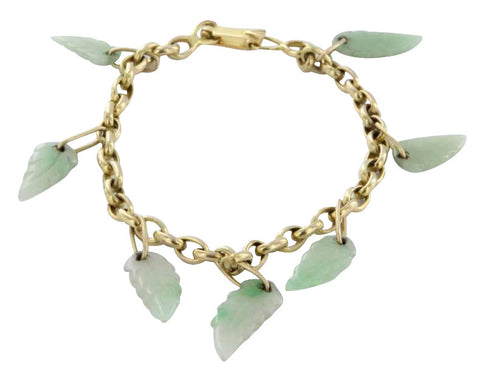 14K Yellow Gold and Jade Charm Bracelet