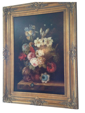 Continental School (20th Century), Floral Still Life, oil on canvas, signed