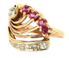 ​14K Rose Gold, Diamond and Ruby Cocktail Ring
