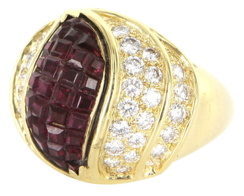 18K Yellow Gold, Diamond and Ruby Cocktail Ring