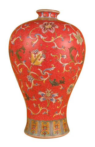 Chinese Famille Rose Enameled Porcelain Meiping Form Vase