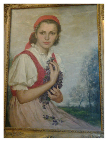 Lajos Rezes Molnar (Hungarian, 1903-1989), Portrait of a Young Woman with Violets, oil on canvas, 20th century