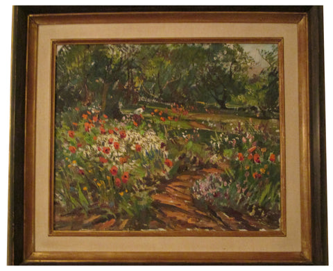 "Wayne Morrell (American, 1923-2013), ""(Summer Garden) Red Poppies & Sunlight"", oil on canvas, signed and dated 1971"