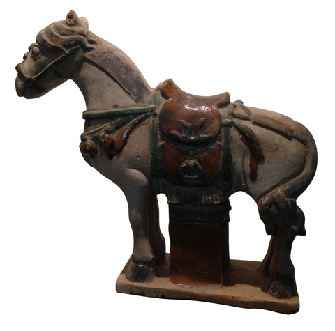 Chinese Pottery Funerary Model, Caparisoned Horse