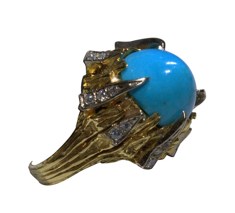 14K Yellow Gold, Diamond, and Turquoise Ring