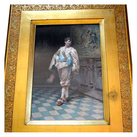 Gustavo Simoni (Italian, 1846-1926), Cavalier in a Palatial Interior, gouache/watercolor on paper, signed, dated 1882