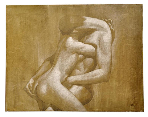 Attributed to Dunbar Dyson Beck (American, 1903-1986), Untitled (Entwined Nudes), oil on canvas, 20th century