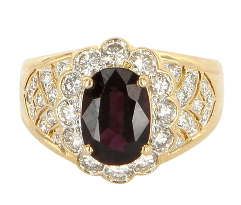 18K Yellow Gold, Diamond and Garnet Cocktail Ring