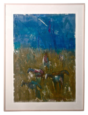 Theodore (Ted) Waddell (American, b. 1941), Horses in Pasture, oil and charcoal on paper, signed and dated 1990