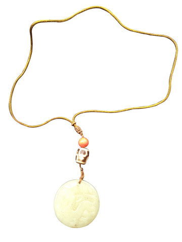 Sino-Tibetan Nephrite, Red Coral and Dzi Bead Pendant