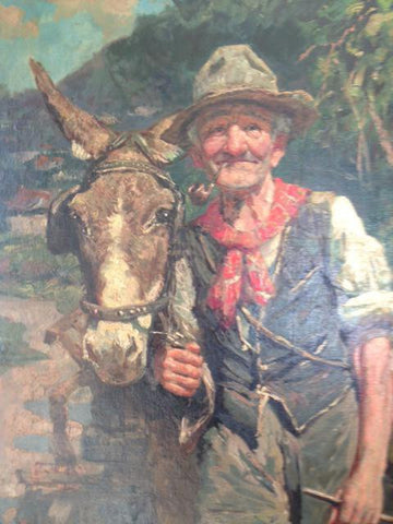 A. Basile (Italian, b. 20th Century), Portrait of a Man with a Donkey, oil on canvas, signed