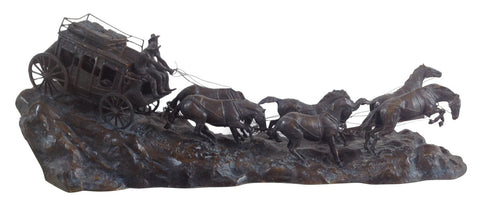 After C.M. Russell, Stage Coach, patinated bronze sculpture