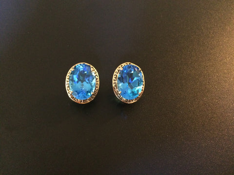 Pair of 14K Yellow Gold and Blue Topaz Earrings, 20th century