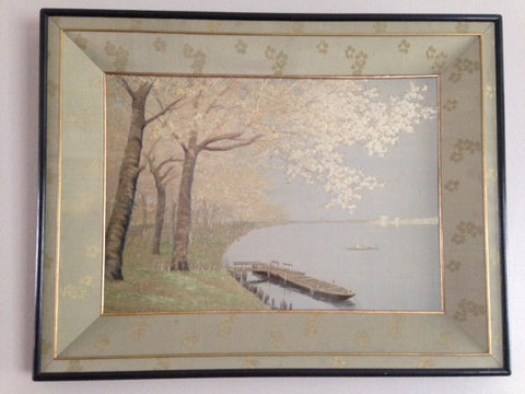Nishimura Sozaemon (1855-1935), Canoe at Pier on Lake, Silk Embroidery, late 19th/early 20th century.
