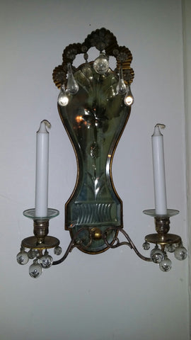Pair of Continental Gilt Metal and Mirror Back Two-Light Sconces, probably Italian, ca.1930s