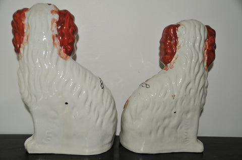 Pair of English Staffordshire Pottery Dogs, 19th century