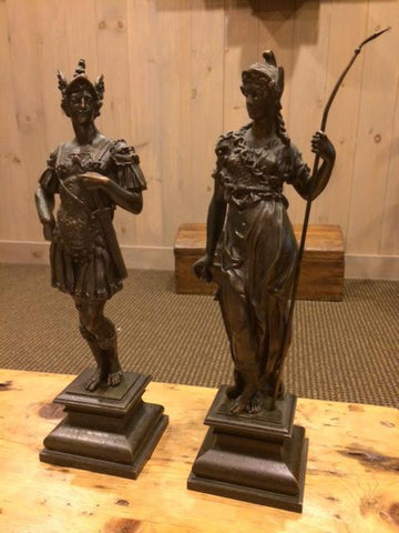 Pair of Continental Patinated Bronze Figures of Mars and Minerva, early 20th century
