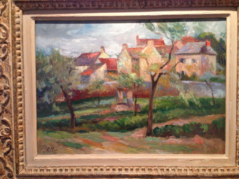 French Country Village Scene In the manner of Camille Pissarro (Dutch/French, 1830-1903), oil on canvas