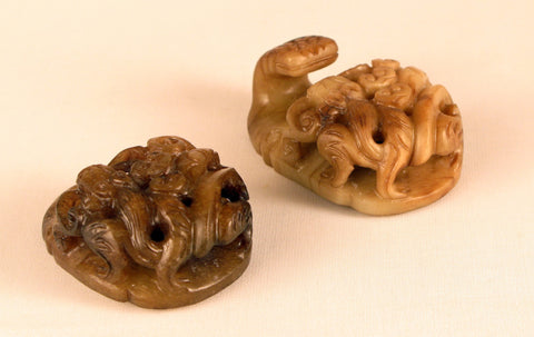 Chinese Carved Nephrite Jade Belt Buckle, Late Qing Dynasty, ca. 1850-1890, in the Ming Dynasty style