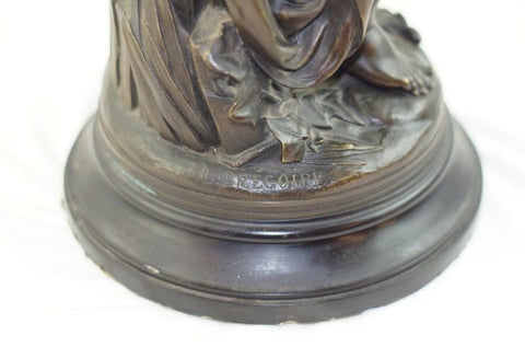 Jean-Louis Gregoire (French, 1840-1890), Euterpe, patinated bronze sculpture, signed in the cast