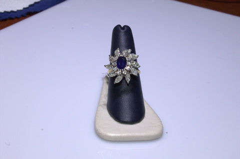 14K Yellow and White Gold, Diamond and Sapphire Ring