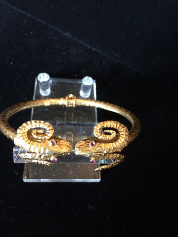 22K Yellow Gold Bracelet In the Ancient Greek Style, 20th century, with four small rubies