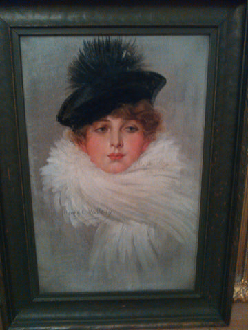 Henry E. Vallely (American, 20th Century), A Woman in a Black Hat, oil on canvas, signed