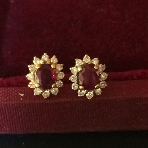 Pair of 14K Yellow Gold, Ruby and Diamond Earrings, 20th century