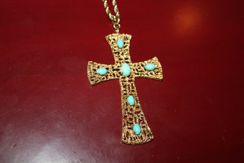 18K Yellow Gold and Turquoise Cross Pendant, 20th century,  with oval turquoise cabochon stones, marked