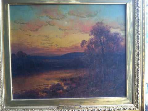 DeLacy Griffin (American, 19th Century), Sunset on the Lower Delaware, oil on canvas, signed
