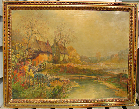 Karl Vikas (Austrian, 1875-1934), Landscape with House, oil on canvas, signed