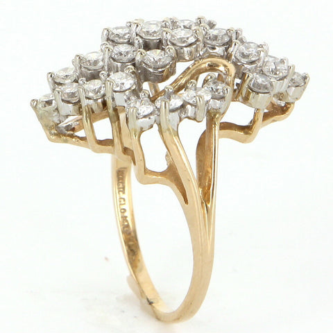 14K Yellow Gold and Diamond Cluster Ring, 20th century