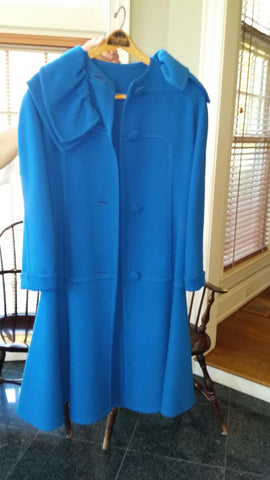 Galanos Blue Dress Coat, ca. 1960s