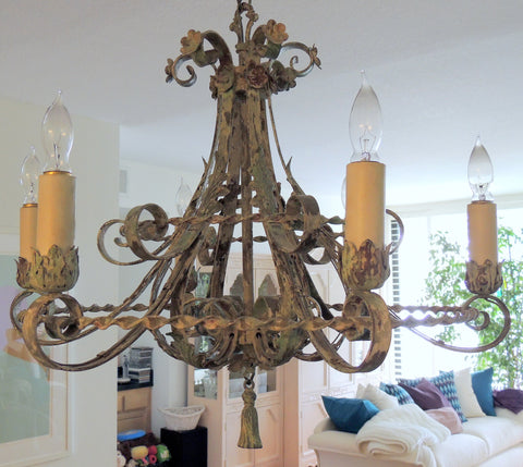 Painted Wrought Iron Six Light Chandelier ,early 20th century