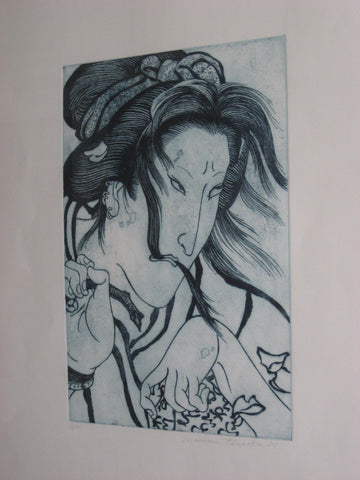"Masami Teraoka (Japanese/American, b.1936), ""Ghost Geisha"", etching and aquatint, signed and numbered ""10/16"", dated 1989"