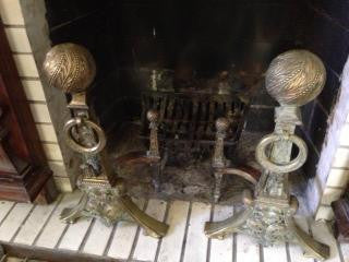 Pair of Aesthetic Movement Brass Andirons, second half 19th century