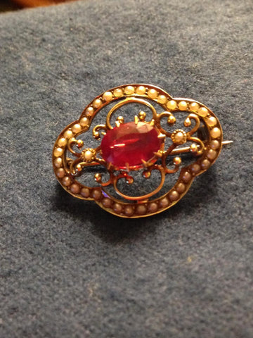 14K Yellow Gold Ruby and Seed Pearl Brooch, early 20th century
